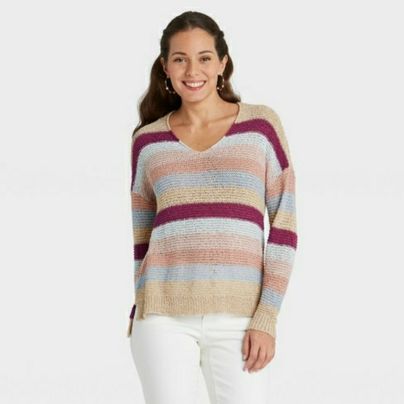 Knox Rose Tri-Color Sweater Size: XL